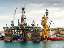 Cranes in docks, Malta Stock Image