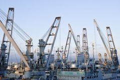 Cranes in dockside Stock Images