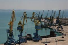 Cranes in Durres harbour in Albania stock photo