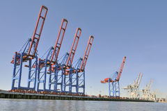 Cranes in empty harbor Royalty Free Stock Photos