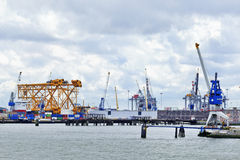 Cranes and equipment, Port of Rotterdam, Holland Royalty Free Stock Photos