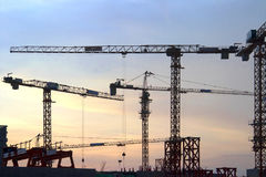 Cranes in everning and under lighting Stock Photo