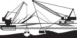 Cranes extracting sand from bottom of river. Vector illustration Royalty Free Stock Photography