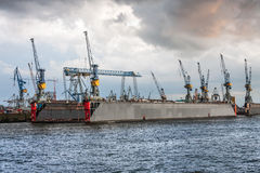 Cranes on a floating dock in Hamburg Royalty Free Stock Image