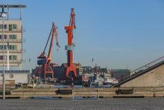 Cranes in Gothenburg city Stock Photography