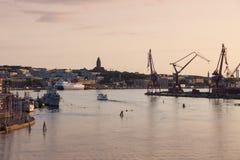 Cranes in Gothenburg. Gothenburg, Vasstergotland and Bohuslan, Sweden stock photo