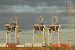 Cranes in harbor Stock Photo