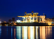 Cranes in harbor Royalty Free Stock Photos