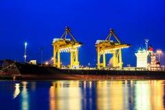 Cranes in harbor Royalty Free Stock Photo