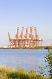 Cranes at harbor of Amsterdam Royalty Free Stock Images