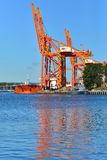 Cranes in the harbor Royalty Free Stock Photo