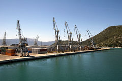Cranes in the harbor Stock Photography
