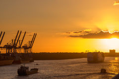 Cranes in a harbor at sunset Royalty Free Stock Photo