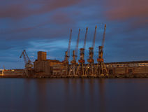 Cranes in harbour Royalty Free Stock Image