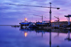 Cranes on Harbour Stock Photo