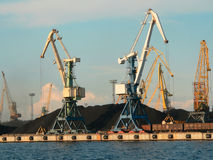 Cranes in harbour stock photo