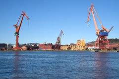Cranes in the harbour. Gothenburg Sweden. Royalty Free Stock Photos