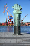 Cranes in the harbour. Gothenburg Sweden. Stock Image