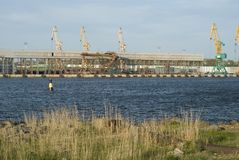 Cranes in the harbour of Klaipeda. Many cranes in the harbour, port Klaipeda, Lithuania Stock Photo
