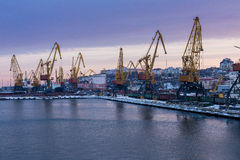 Cranes in harbour Royalty Free Stock Photography