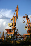 Cranes in the harbour Royalty Free Stock Images