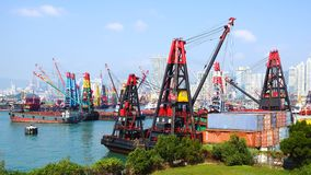 Cranes at Hong Kong port. Stock Photo