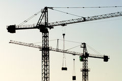 Cranes horizontal Royalty Free Stock Images