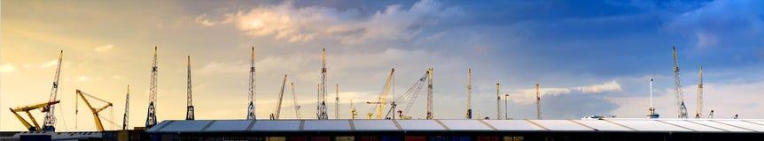 Cranes horizonte Fotografía de archivo