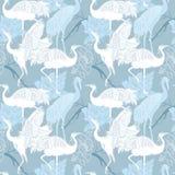 Cranes il modello senza cuciture degli uccelli Fotografia Stock