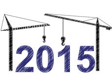 2015 cranes. Illustration of 2015 text witn two cranes Stock Images