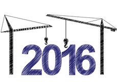 2016 cranes. Illustration of 2016 text witn two cranes Stock Illustration