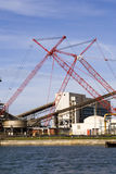 Cranes in industrial area royalty free stock photo