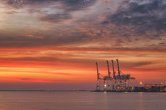Cranes and industrial cargo ships in Varna port at sunset Royalty Free Stock Photography