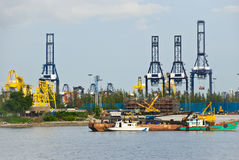 Cranes at an industrial port Stock Photography