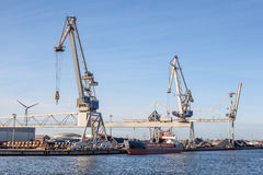 Cranes at the industrial port Royalty Free Stock Photography