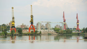 Cranes in industrial port. Of Buenos Aires, Argentina, April 2013 Stock Photography