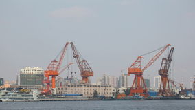 Cranes at the industrial port stock footage