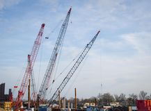 Cranes and Industrial Work Area Stock Image