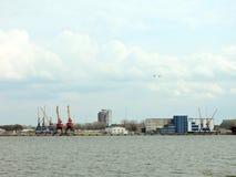 Cranes in Klaipeda port, Lithuania Stock Photos