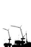 Cranes la construcción de edificios en blanco aislada Imagen de archivo