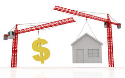 Cranes lifting dollar sign and house Royalty Free Stock Images
