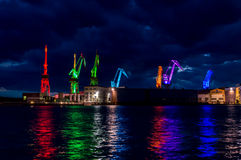 Cranes. Lighted in different colors in Pula, Istria, Croatia Stock Photography