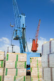 Cranes Loading Freighter With Cargo Stock Photos