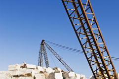 Cranes at marble quarry Royalty Free Stock Photo