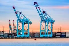 Cranes in Newark-Elizabeth marine terminal. Gigantic cranes in the Newark-Elizabeth marine terminal Royalty Free Stock Photo