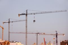 Cranes night shoot Royalty Free Stock Images