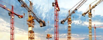 Cranes o panorama fotos de stock royalty free