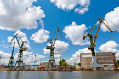 Cranes - old shipyard Royalty Free Stock Photo