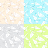 Cranes. origami. Different Seamless Pattern of a Japanese crane Stock Photos