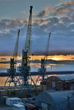 Cranes over the river in the port at sunset Stock Photo